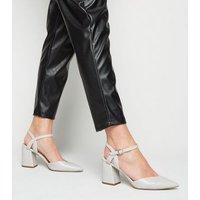 Grey Faux Snake Flared Block Heel Court Shoes New Look Vegan