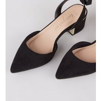 Wide Fit Black Metal Trim Court Shoes New Look