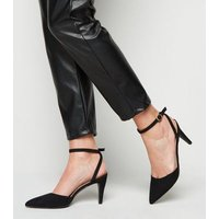 Wide Fit Black Suedette Pointed Court Shoes New Look Vegan