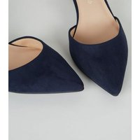 Wide Fit Navy Suedette Pointed Court Shoes New Look Vegan