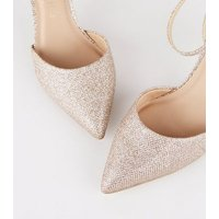 Wide Fit Rose Gold Glitter Pointed Court Shoes New Look Vegan