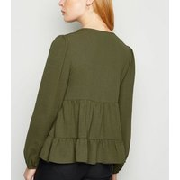Khaki Tiered Button Up Long Sleeve Blouse New Look