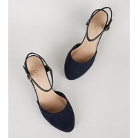 Wide Fit Navy Suedette Round Toe Courts New Look Vegan