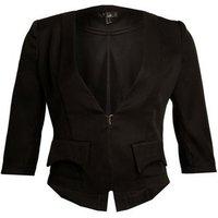 Cutie London Black 3/4 Sleeve Crop Blazer New Look