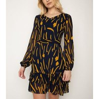Cutie London Navy Brush Stroke Print Ruffle Dress New Look