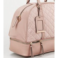 Pink Quilted Holdall Weekend Bag New Look