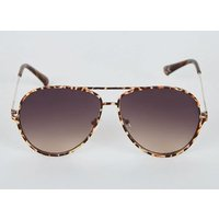 Dark Brown Animal Print Pilot Sunglasses New Look
