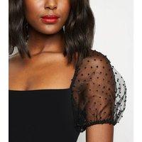 Black Spot Organza Sleeve Bodycon Dress New Look
