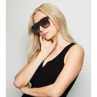 Black Flat Top Square Sunglasses New Look