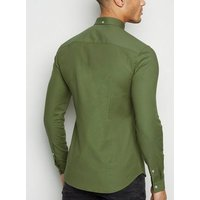 Khaki Muscle Fit Long Sleeve Oxford Shirt New Look