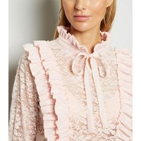 Cameo Rose Pale Pink Lace Ruffle Blouse New Look