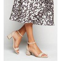 Cream Leather-Look 2 Part Flared Block Heels New Look