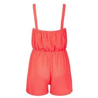 Girls Coral Neon Broderie Beach Playsuit New Look