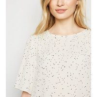 White Confetti Spot Flutter Sleeve Top New Look