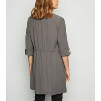 Dark Grey Elasticated Waist Waterfall Duster Jacket New Look