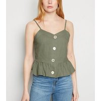 Blue Vanilla Olive Linen Look Button Up Cami New Look