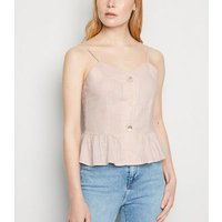 Blue Vanilla Mid Pink Linen Look Button Up Cami New Look