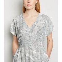 Blue Vanilla White Monochrome Leaf Midi Dress New Look