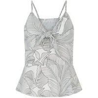 Blue Vanilla White Monochrome Leaf Cami New Look