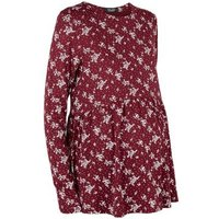 Maternity Burgundy Ditsy Floral Peplum Top New Look