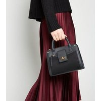 Black Leather-Look Buckle Strap Tote Bag New Look Vegan