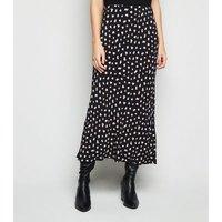 Black Spot Midi Skirt New Look