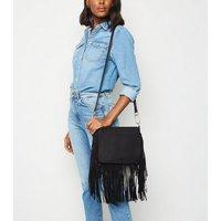 Black Suedette Fringe Cross Body Bag New Look Vegan