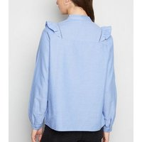 Blue Chambray Frill Trim Oxford Shirt New Look
