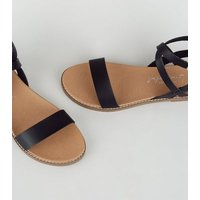 Black Leather-Look Cross Strap Footbed Sandals New Look