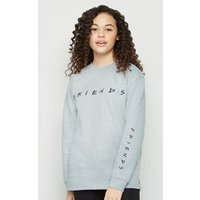 Girls Grey Friends Logo Long Sweatshirt New Look