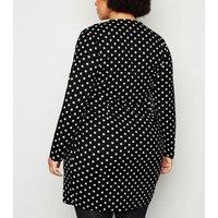 Mela Curves Black Polka Dot Wrap Dress New Look