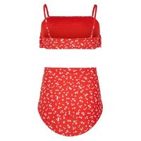Girls Red Ditsy Floral Frill High Waist Bikini Set New Look