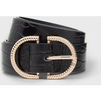 Black Faux Croc Double Horseshoe Belt New Look