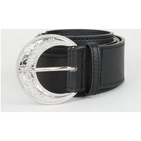 Black Oversized Western Buckle Belt New Look