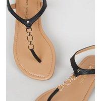 Wide Fit Black Faux Snake Metal Chain Sandals New Look Vegan