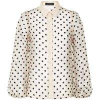 Off White Spot Organza Puff Sleeve Shirt New Look