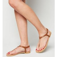 Wide Fit Tan Leather-Look Diamante Chain Sandals New Look Vegan