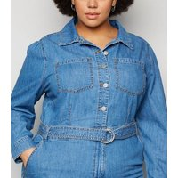 Curves Blue Belted Denim Jumpsuit New Look