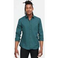 Men's Dark Green Poplin Long Sleeve Shirt New Look