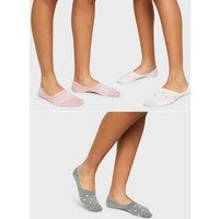 Girls 3 Pack Pink Mixed Print Invisible Socks New Look