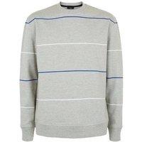 Grey Marl Stripe Cotton Sweatshirt New Look