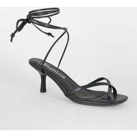 Black Toe Loop Ankle Tie Heels New Look