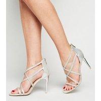 Silver Metallic Strappy Diamante Stilettos New Look Vegan
