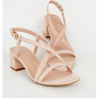 Wide Fit Pale Pink Suedette Strappy Low Heel Sandals New Look