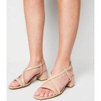Wide Fit Camel Strappy Low Heel Sandals New Look Vegan