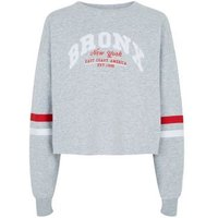 Girls Grey Bronx Logo Sweatshirt New Look