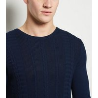 Navy Cable Knit Muscle Fit Jumper New Look
