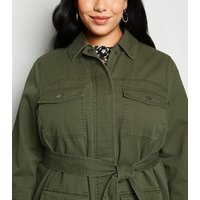 Curves Khaki 4 Pocket Belted Lightweight Jacket New Look