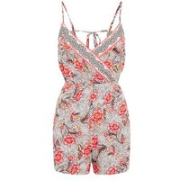 White Floral Spot Wrap Beach Playsuit New Look