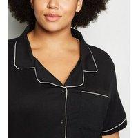 Curves Black Revere Collar Pyjama Short Set New Look